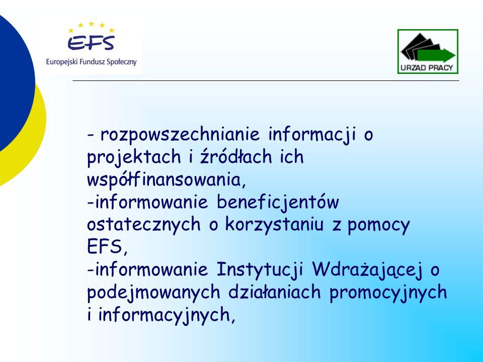 - rozpowszechnianie informacji o projektach i źródłach ich współfinansowania, -informowanie beneficjentów ostatecznych o korzystaniu z pomocy EFS, -informowanie Instytucji Wdrażającej o podejmowanych działaniach promocyjnych i informacyjnych,