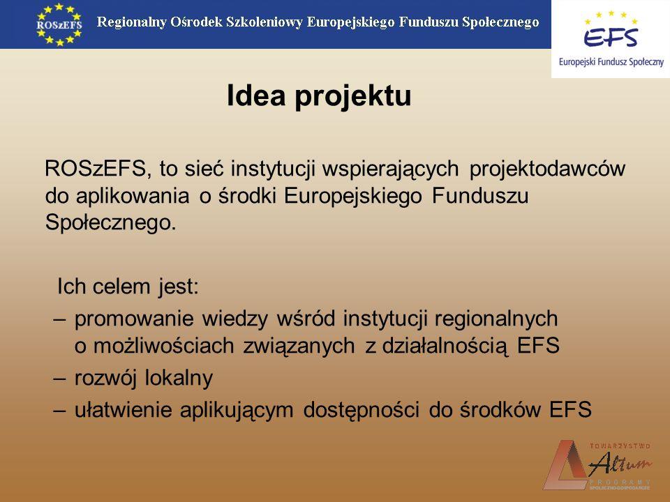 Idea projektu ROSzEFS, to sieć instytucji wspierających projektodawców do aplikowania o środki Europejskiego Funduszu Społecznego. Ich celem jest: –pr