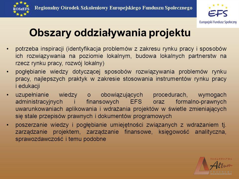 Obszary oddziaływania projektu potrzeba inspiracji (identyfikacja problemów z zakresu rynku pracy i sposobów ich rozwiązywania na poziomie lokalnym, b