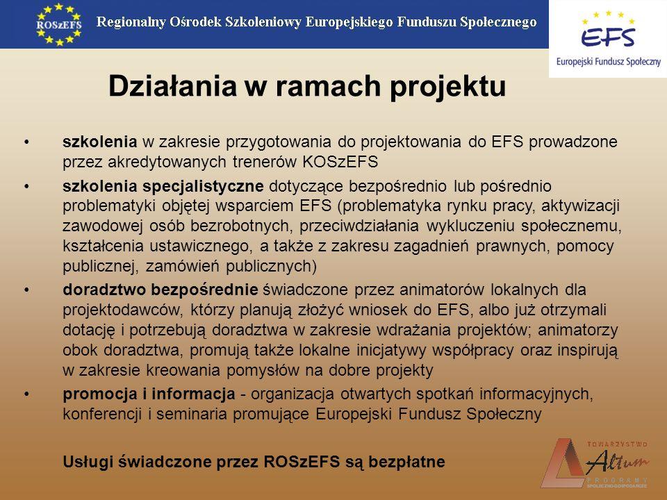 Działania w ramach projektu szkolenia w zakresie przygotowania do projektowania do EFS prowadzone przez akredytowanych trenerów KOSzEFS szkolenia spec