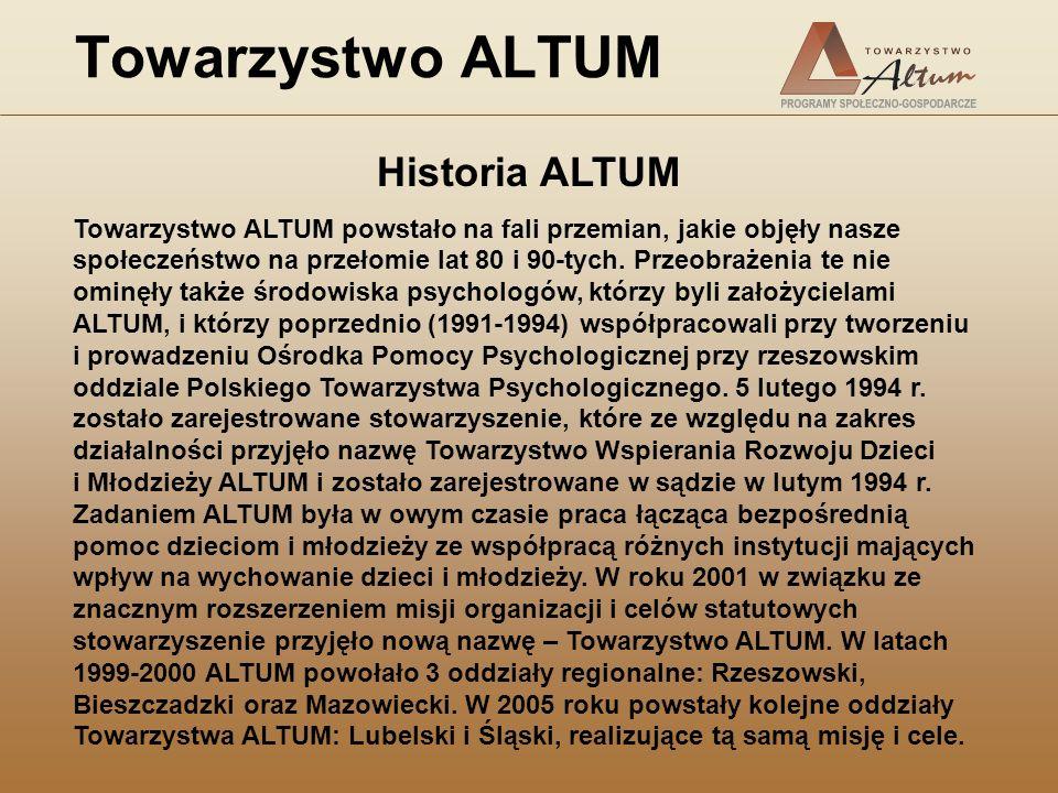 Towarzystwo ALTUM Historia ALTUM Towarzystwo ALTUM powstało na fali przemian, jakie objęły nasze społeczeństwo na przełomie lat 80 i 90-tych. Przeobra