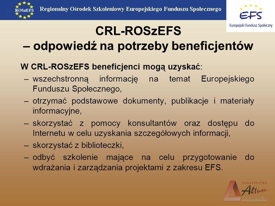 CRL-ROSzEFS – odpowiedź na potrzeby beneficjentów W CRL-ROSzEFS beneficjenci mogą uzyskać: –wszechstronną informację na temat Europejskiego Funduszu S