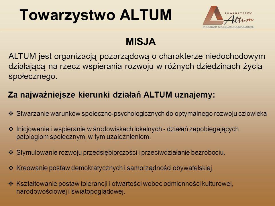 Towarzystwo ALTUM Za najważniejsze kierunki działań ALTUM uznajemy: Stwarzanie warunków społeczno-psychologicznych do optymalnego rozwoju człowieka In