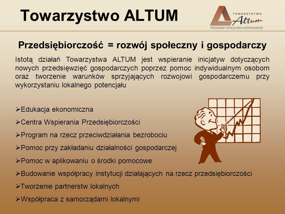 Towarzystwo ALTUM Przedsiębiorczość = rozwój społeczny i gospodarczy Istotą działań Towarzystwa ALTUM jest wspieranie inicjatyw dotyczących nowych prz