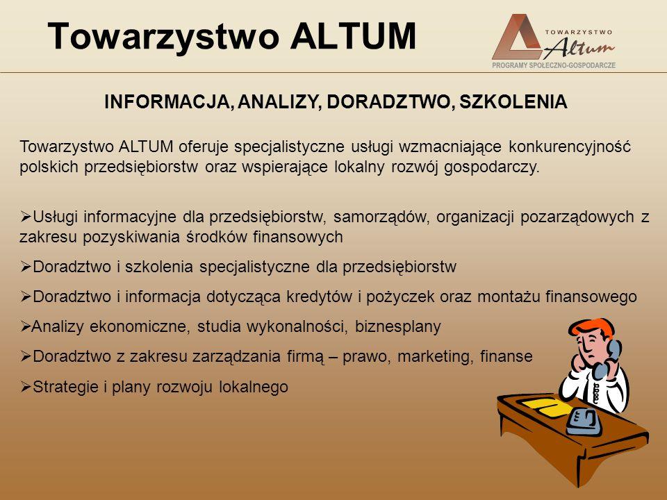 Towarzystwo ALTUM INFORMACJA, ANALIZY, DORADZTWO, SZKOLENIA Towarzystwo ALTUM oferuje specjalistyczne usługi wzmacniające konkurencyjność polskich prz