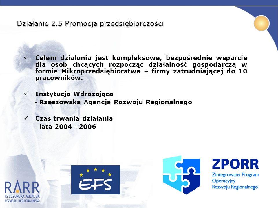 Działanie 2.5 Promocja przedsiębiorczości Celem działania jest kompleksowe, bezpośrednie wsparcie dla osób chcących rozpocząć działalność gospodarczą