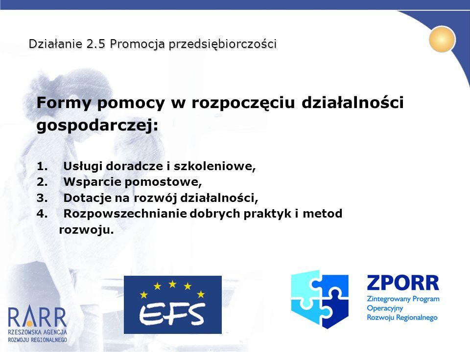 Działanie 2.5 Promocja przedsiębiorczości Formy pomocy w rozpoczęciu działalności gospodarczej: 1. Usługi doradcze i szkoleniowe, 2. Wsparcie pomostow