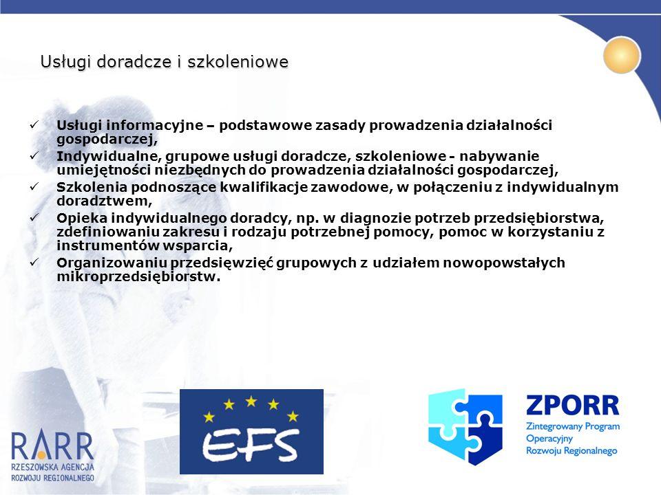 Usługi doradcze i szkoleniowe Usługi informacyjne – podstawowe zasady prowadzenia działalności gospodarczej, Indywidualne, grupowe usługi doradcze, sz