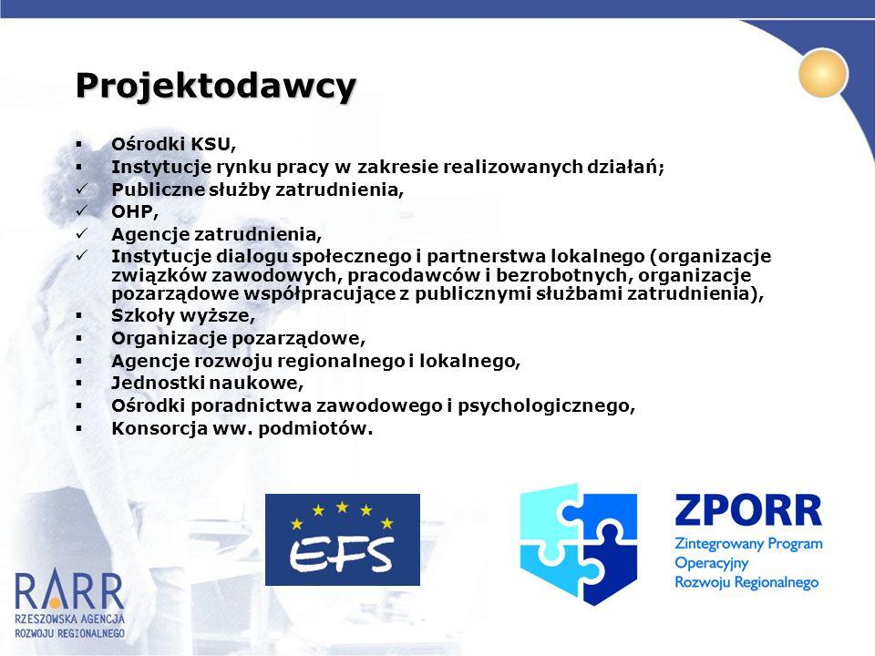 Projektodawcy Ośrodki KSU, Instytucje rynku pracy w zakresie realizowanych działań; Publiczne służby zatrudnienia, OHP, Agencje zatrudnienia, Instytuc