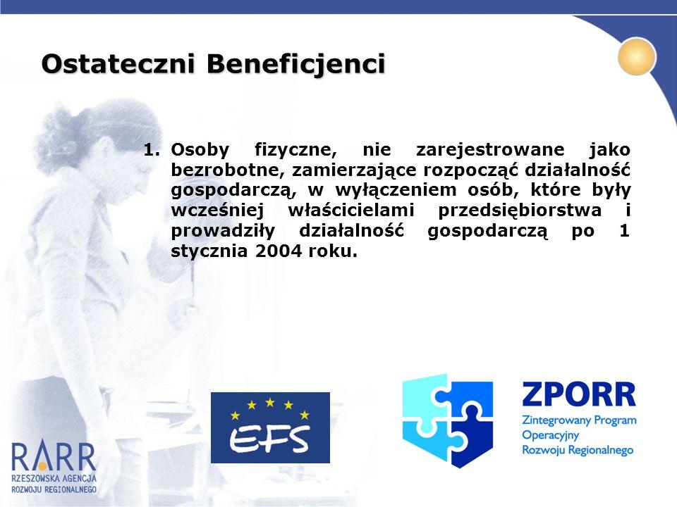 Ostateczni Beneficjenci 1.Osoby fizyczne, nie zarejestrowane jako bezrobotne, zamierzające rozpocząć działalność gospodarczą, w wyłączeniem osób, któr