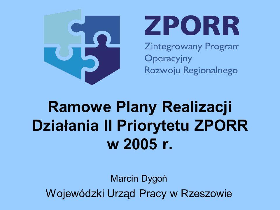 Ramowe Plany Realizacji Działania II Priorytetu ZPORR w 2005 r. Marcin Dygoń Wojewódzki Urząd Pracy w Rzeszowie