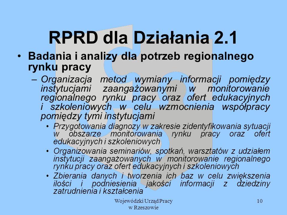 Wojewódzki Urząd Pracy w Rzeszowie 10 RPRD dla Działania 2.1 Badania i analizy dla potrzeb regionalnego rynku pracy –Organizacja metod wymiany informa