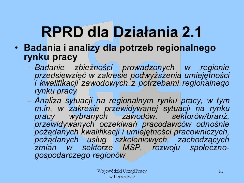 Wojewódzki Urząd Pracy w Rzeszowie 11 RPRD dla Działania 2.1 Badania i analizy dla potrzeb regionalnego rynku pracy –Badanie zbieżności prowadzonych w