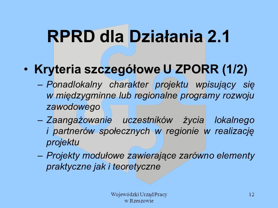 Wojewódzki Urząd Pracy w Rzeszowie 12 RPRD dla Działania 2.1 Kryteria szczegółowe U ZPORR (1/2) –Ponadlokalny charakter projektu wpisujący się w międz