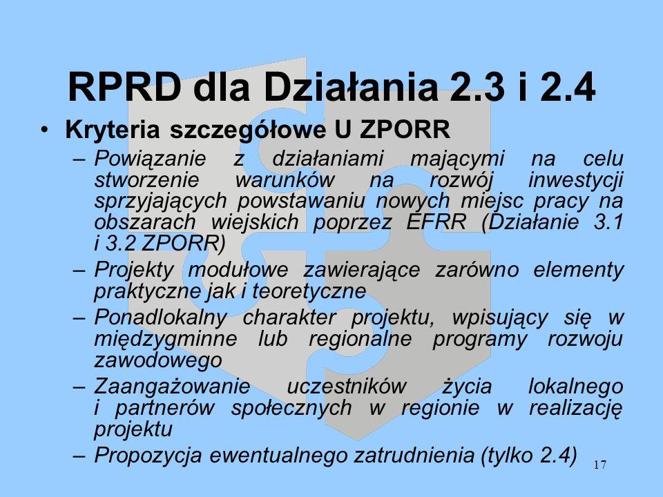 17 RPRD dla Działania 2.3 i 2.4 Kryteria szczegółowe U ZPORR –Powiązanie z działaniami mającymi na celu stworzenie warunków na rozwój inwestycji sprzy