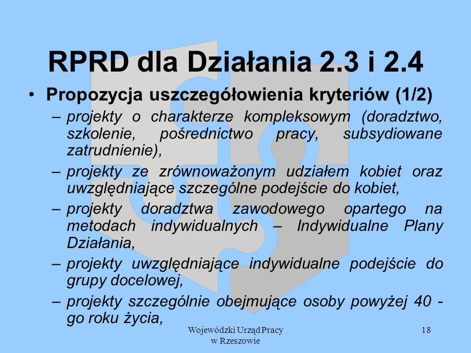 Wojewódzki Urząd Pracy w Rzeszowie 18 RPRD dla Działania 2.3 i 2.4 Propozycja uszczegółowienia kryteriów (1/2) –projekty o charakterze kompleksowym (d