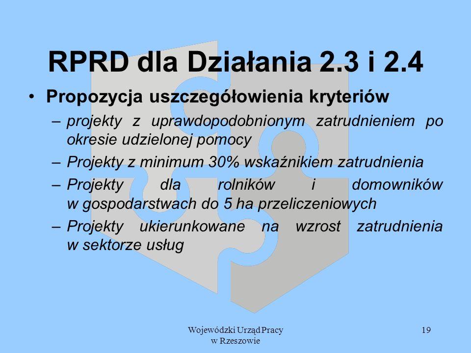 Wojewódzki Urząd Pracy w Rzeszowie 19 RPRD dla Działania 2.3 i 2.4 Propozycja uszczegółowienia kryteriów –projekty z uprawdopodobnionym zatrudnieniem