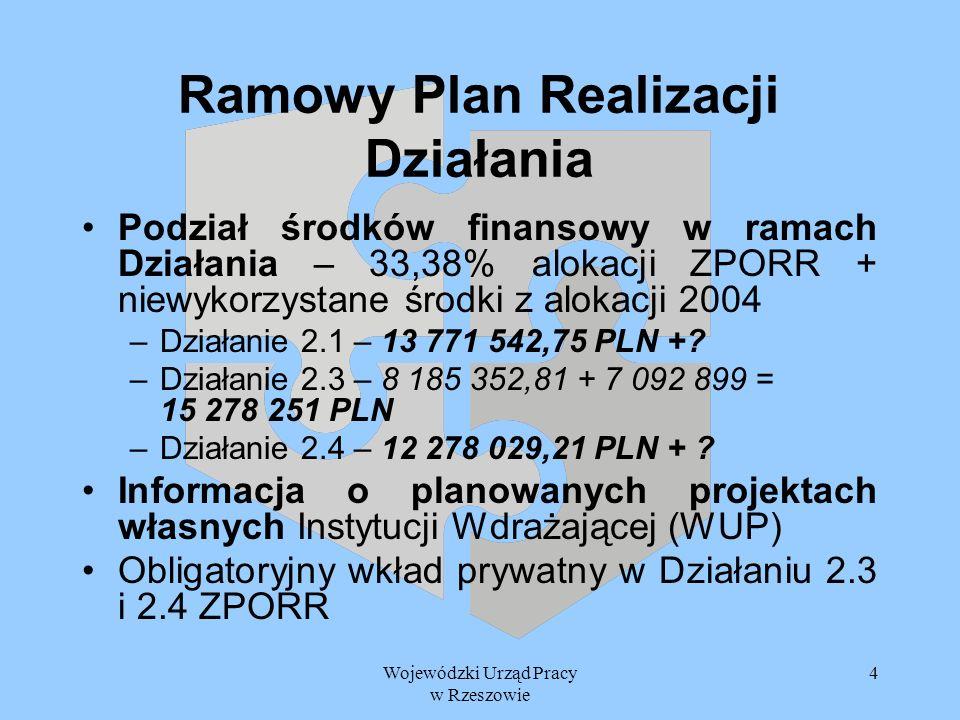 Wojewódzki Urząd Pracy w Rzeszowie 4 Ramowy Plan Realizacji Działania Podział środków finansowy w ramach Działania – 33,38% alokacji ZPORR + niewykorz