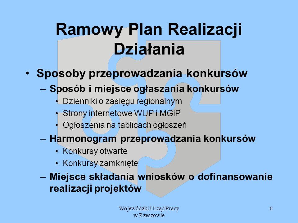 Wojewódzki Urząd Pracy w Rzeszowie 7 Ramowy Plan Realizacji Działania Załączniki finansowe –Planowany harmonogram płatności dla Działania Zasada N+2 Rozkład środków pochodzących z alokacji 2005 i 2004, które będą zapłacone w poszczególnych latach realizacji RPRD Perspektywa 2005 – 2006 –Planowany roczny harmonogram płatności w układzie kwartalnym i miesięcznym alokacja 2004 i 2005 Środki pochodzące z Budżetu Państwa, JST i źródeł prywatnych