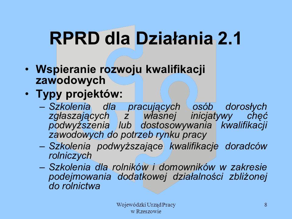 Wojewódzki Urząd Pracy w Rzeszowie 8 RPRD dla Działania 2.1 Wspieranie rozwoju kwalifikacji zawodowych Typy projektów: –Szkolenia dla pracujących osób