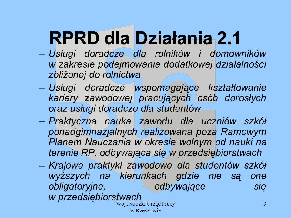 Wojewódzki Urząd Pracy w Rzeszowie 20 Planowany harmonogram prac 24 grudnia 2004 roku – przedstawienie propozycji RPRD dla Działania 2.1, 2.3 i 2.4 do Departamentu Wdrażania Programów Rozwoju Regionalnego MGiP Styczeń 2005 r.