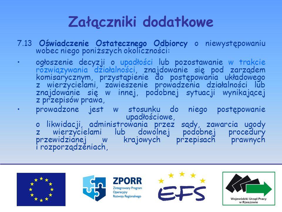 Załączniki dodatkowe 7.13 Oświadczenie Ostatecznego Odbiorcy o niewystępowaniu wobec niego poniższych okoliczności: ogłoszenie decyzji o upadłości lub