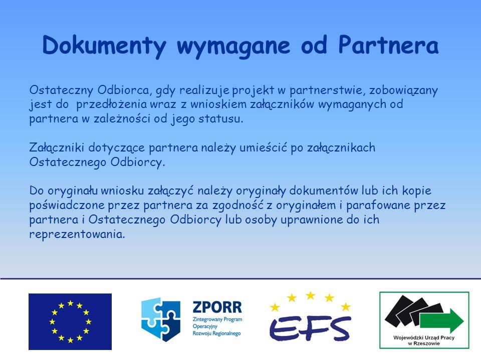 Dokumenty wymagane od Partnera Ostateczny Odbiorca, gdy realizuje projekt w partnerstwie, zobowiązany jest do przedłożenia wraz z wnioskiem załącznikó