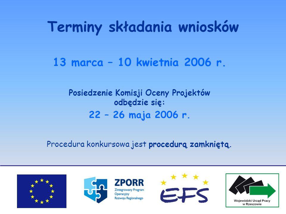 Terminy składania wniosków 13 marca – 10 kwietnia 2006 r. Posiedzenie Komisji Oceny Projektów odbędzie się: 22 – 26 maja 2006 r. Procedura konkursowa