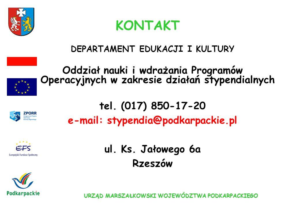URZĄD MARSZAŁKOWSKI WOJEWÓDZTWA PODKARPACKIEGO INFORMACJE W INTERNECIE www.podkarpackie.pl/efs www.zporr.gov.pl www.efs.gov.pl