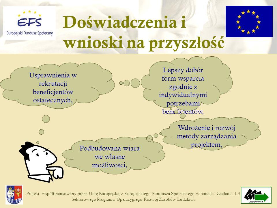 Projekt współfinansowany przez Unię Europejską z Europejskiego Funduszu Społecznego w ramach Działania 1.3 Sektorowego Programu Operacyjnego Rozwój Zasobów Ludzkich Do ś wiadczenia i wnioski na przysz ł o ść Usprawnienia w rekrutacji beneficjentów ostatecznych, Lepszy dobór form wsparcia zgodnie z indywidualnymi potrzebami beneficjentów, Wdro ż enie i rozwój metody zarz ą dzania projektem, Podbudowana wiara we w ł asne mo ż liwo ś ci,