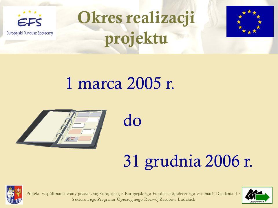 Projekt współfinansowany przez Unię Europejską z Europejskiego Funduszu Społecznego w ramach Działania 1.3 Sektorowego Programu Operacyjnego Rozwój Zasobów Ludzkich Okres realizacji projektu 1 marca 2005 r.