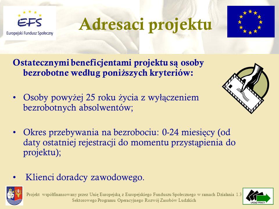 Projekt współfinansowany przez Unię Europejską z Europejskiego Funduszu Społecznego w ramach Działania 1.3 Sektorowego Programu Operacyjnego Rozwój Zasobów Ludzkich Ostatecznymi beneficjentami projektu s ą osoby bezrobotne wed ł ug poni ż szych kryteriów: Osoby powy ż ej 25 roku ż ycia z wy łą czeniem bezrobotnych absolwentów; Okres przebywania na bezrobociu: 0-24 miesi ę cy (od daty ostatniej rejestracji do momentu przyst ą pienia do projektu); Klienci doradcy zawodowego.