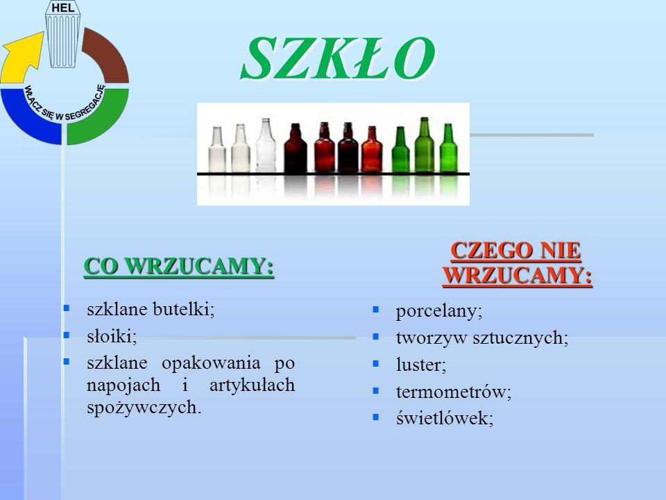 SZKŁO CO WRZUCAMY: szklane butelki; słoiki; szklane opakowania po napojach i artykułach spożywczych. CZEGO NIE WRZUCAMY: CZEGO NIE WRZUCAMY: porcelany