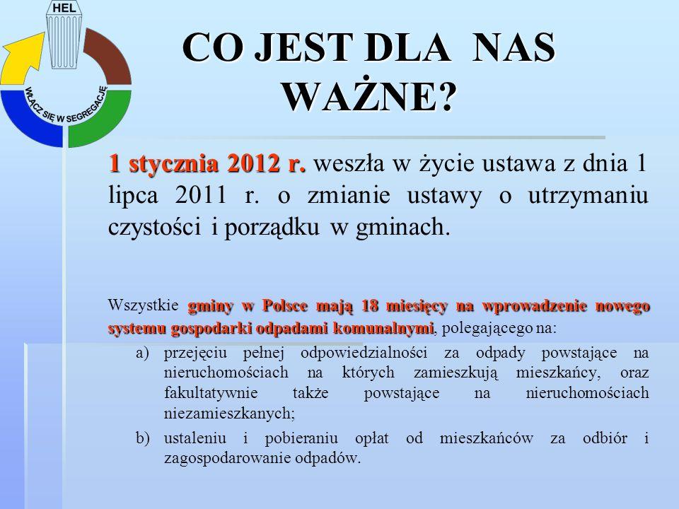CO JEST DLA NAS WAŻNE? 1 stycznia 2012 r. 1 stycznia 2012 r. weszła w życie ustawa z dnia 1 lipca 2011 r. o zmianie ustawy o utrzymaniu czystości i po