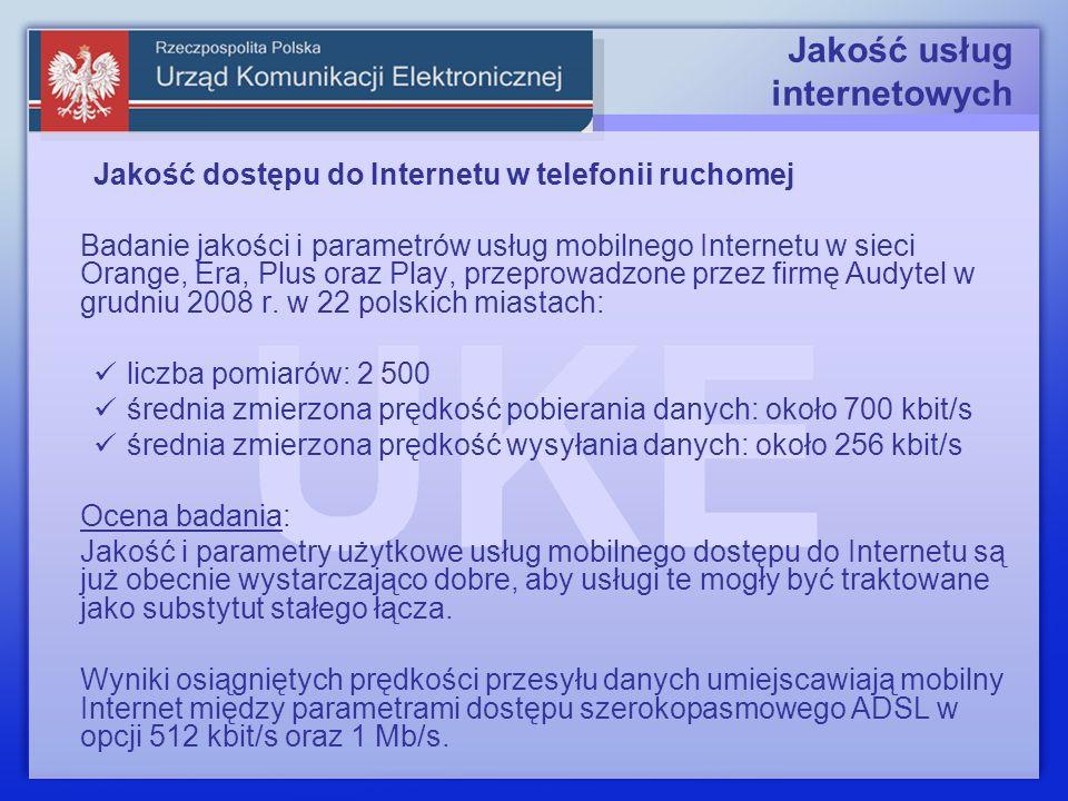 Jakość usług internetowych Jakość dostępu do Internetu w telefonii ruchomej Badanie jakości i parametrów usług mobilnego Internetu w sieci Orange, Era, Plus oraz Play, przeprowadzone przez firmę Audytel w grudniu 2008 r.