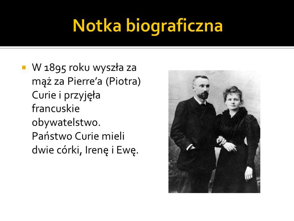 Zmarła 4 lipca 1934 roku, w Passy na skutek choroby związanej z długoletnią pracą z substancjami promieniotwórczymi.