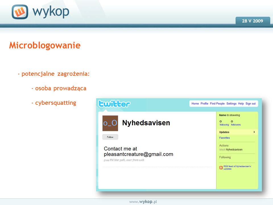 18.03.2008 28 V 2009 www. wykop.pl Microblogowanie - potencjalne zagrożenia: - osoba prowadząca - cybersquatting