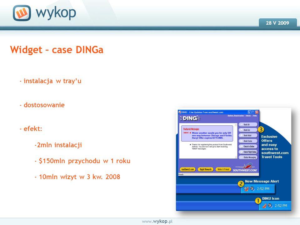 18.03.2008 28 V 2009 www. wykop.pl Widget – case DINGa - instalacja w trayu - dostosowanie - efekt: -2mln instalacji - $150mln przychodu w 1 roku - 10