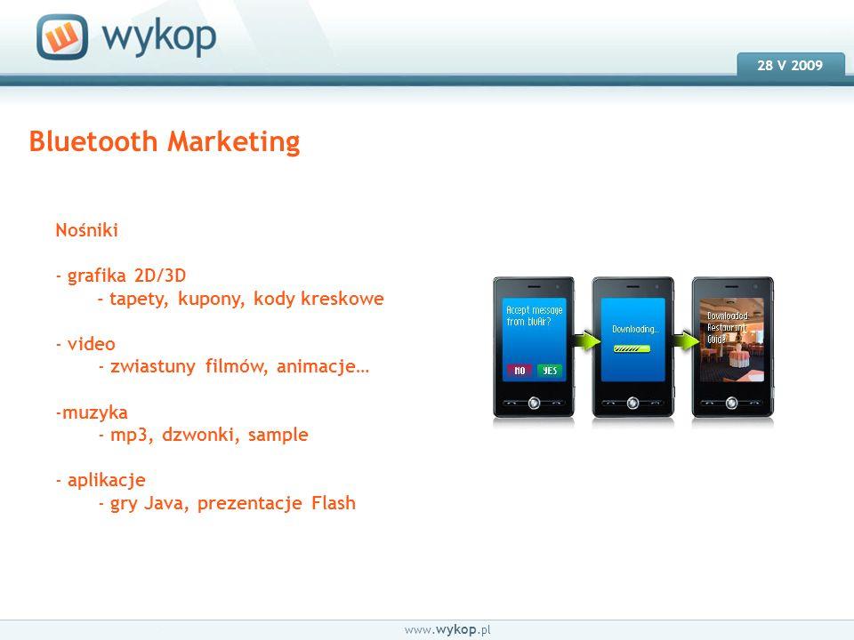 18.03.2008 28 V 2009 www. wykop.pl Bluetooth Marketing Nośniki - grafika 2D/3D - tapety, kupony, kody kreskowe - video - zwiastuny filmów, animacje… -