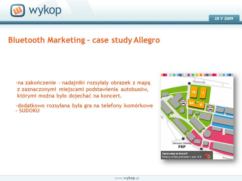18.03.2008 28 V 2009 www. wykop.pl Bluetooth Marketing – case study Allegro -na zakończenie – nadajniki rozsyłały obrazek z mapą z zaznaczonymi miejsc
