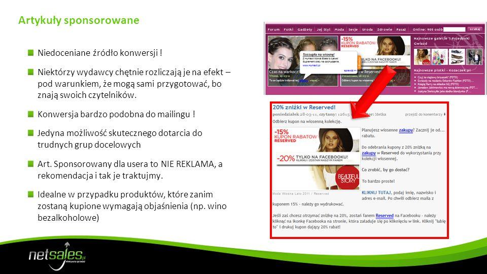 Social Ad (NK/FB) Bardzo wysokie konwersje i możliwość optymalizacji stawki za akcję.