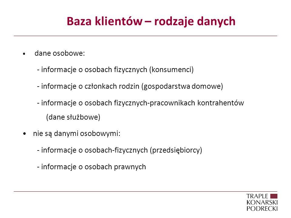 Baza klientów – rodzaje danych dane osobowe: - informacje o osobach fizycznych (konsumenci) - informacje o członkach rodzin (gospodarstwa domowe) - informacje o osobach fizycznych-pracownikach kontrahentów (dane służbowe) nie są danymi osobowymi: - informacje o osobach-fizycznych (przedsiębiorcy) - informacje o osobach prawnych
