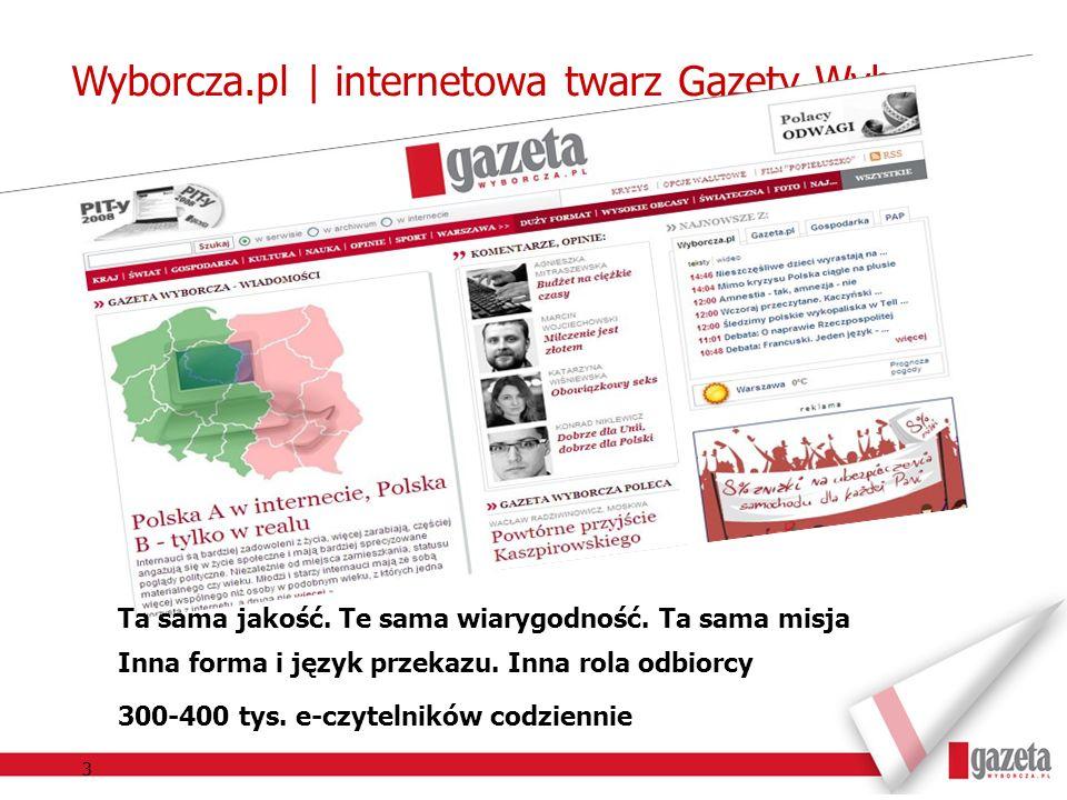 3 Wyborcza.pl | internetowa twarz Gazety Wyborczej Ta sama jakość. Te sama wiarygodność. Ta sama misja Inna forma i język przekazu. Inna rola odbiorcy