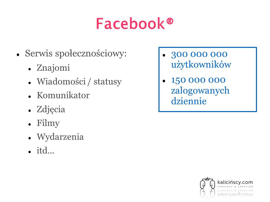 Facebook® Serwis społecznościowy: Znajomi Wiadomości / statusy Komunikator Zdjęcia Filmy Wydarzenia itd... 300 000 000 użytkowników 150 000 000 zalogo