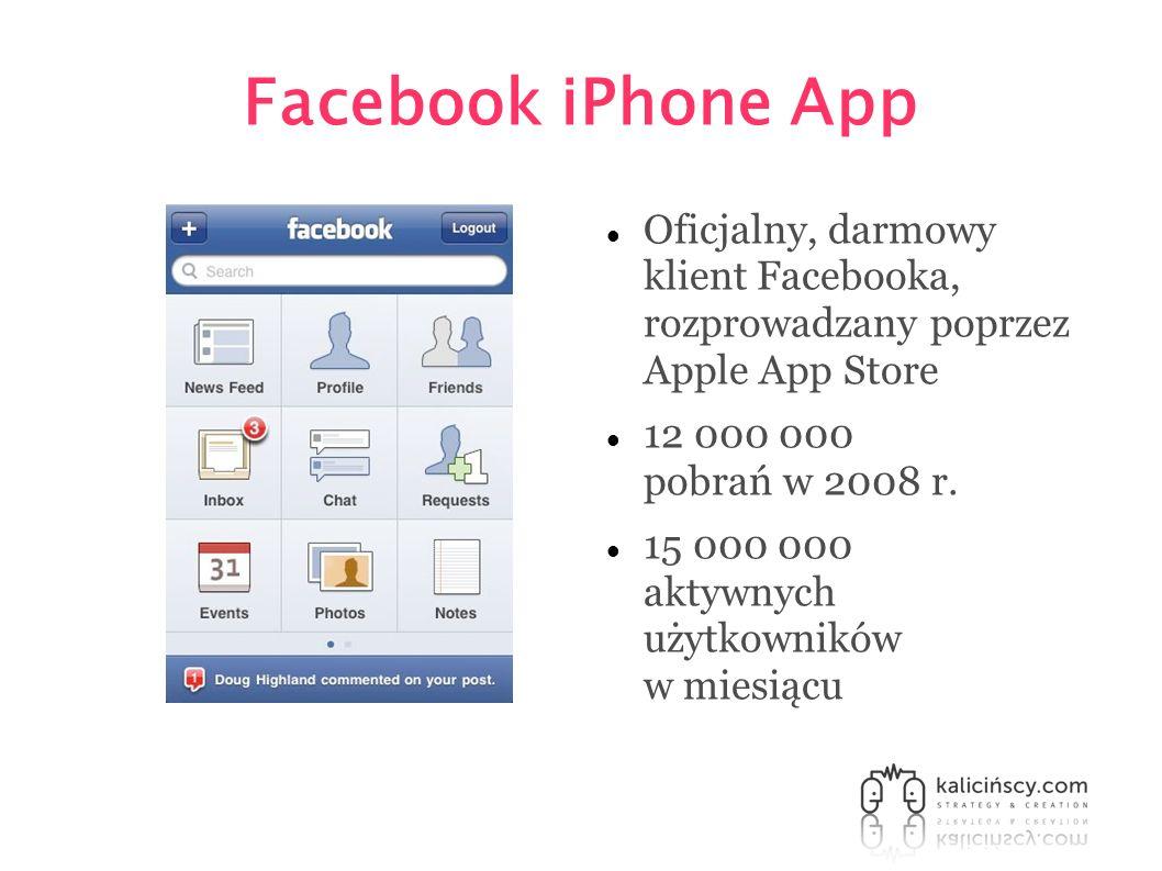 Facebook iPhone App Oficjalny, darmowy klient Facebooka, rozprowadzany poprzez Apple App Store 12 000 000 pobrań w 2008 r. 15 000 000 aktywnych użytko