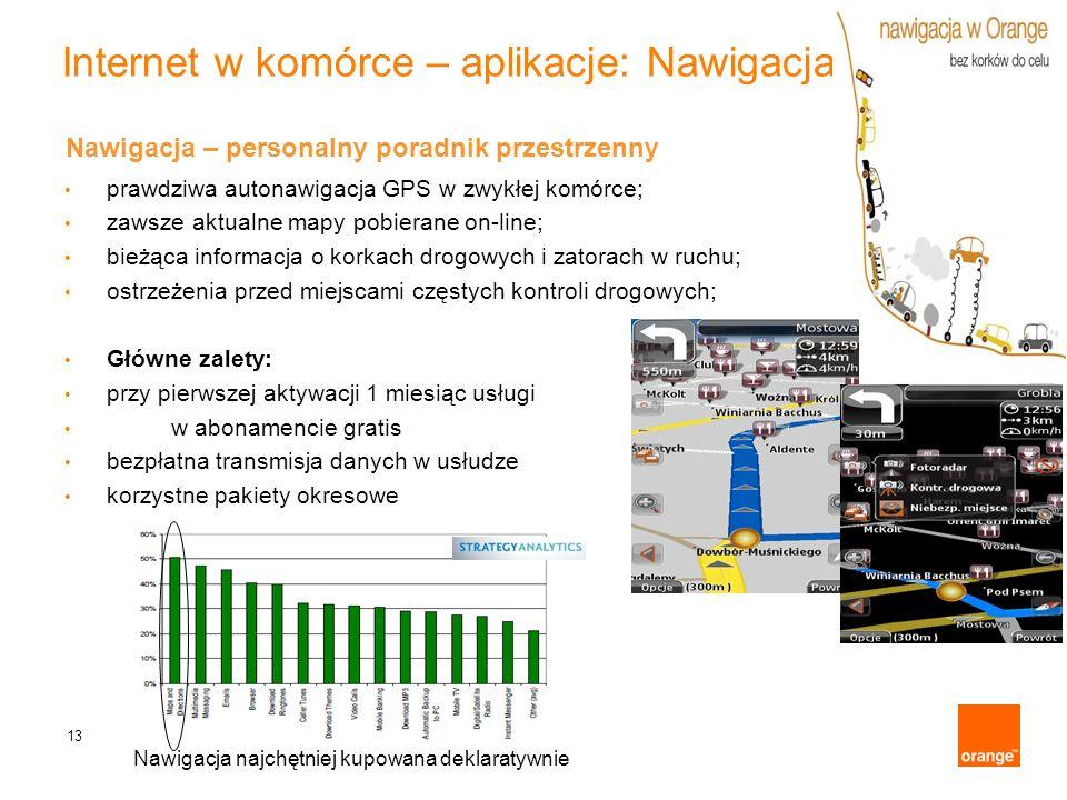 13 Internet w komórce – aplikacje: Nawigacja Nawigacja – personalny poradnik przestrzenny prawdziwa autonawigacja GPS w zwykłej komórce; zawsze aktual