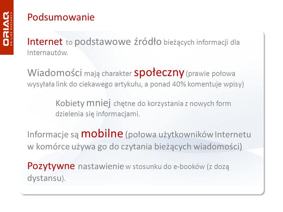 Podsumowanie Internet to podstawowe źródło bieżących informacji dla Internautów. Wiadomości mają charakter społeczny (prawie połowa wysyłała link do c