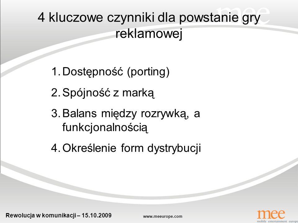 www.meeurope.com Rewolucja w komunikacji – 15.10.2009 Cześć, dzisiaj o 18 grają Świadectwo.