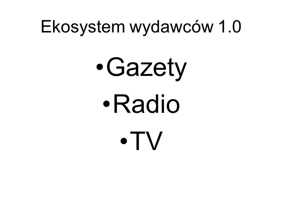 Ekosystem wydawców 2.0 Gazety Radio TV Portale, wortale, wyszukiwarki, agregatorzy Blogi, komentarze, YouTube Wykop, Wrzuta, Sfora… GoogleNews, Facebook, BLip, Twitter…