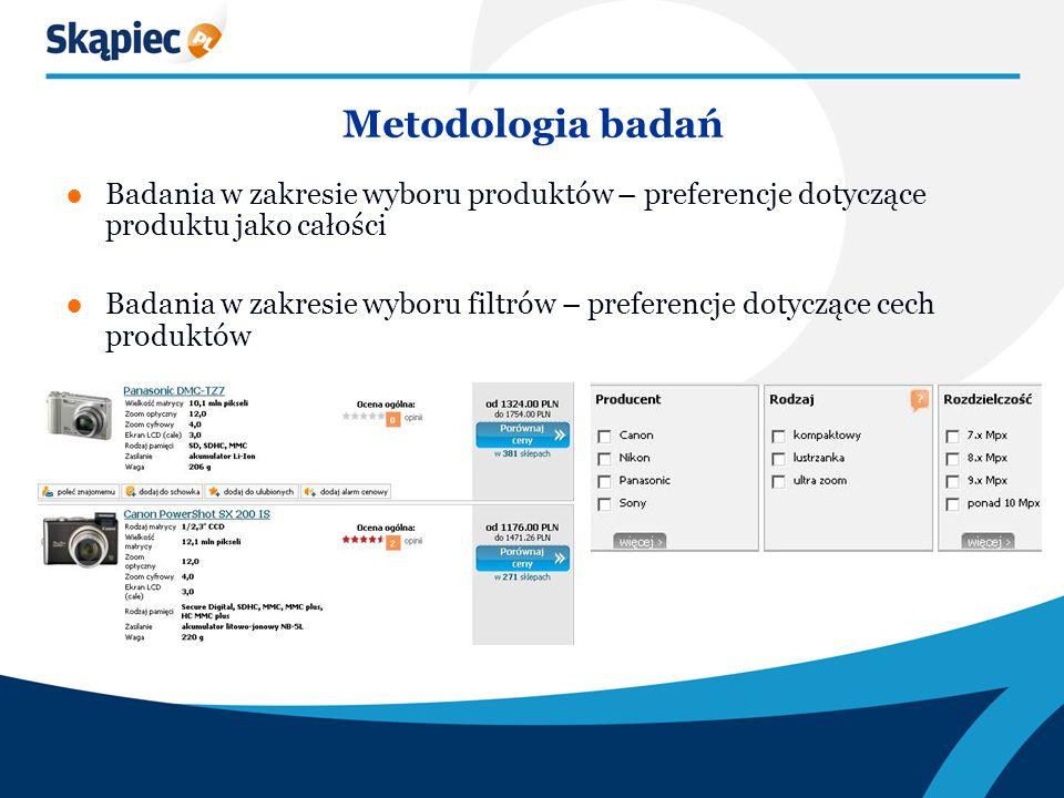 Metodologia badań Badania w zakresie wyboru produktów – preferencje dotyczące produktu jako całości Badania w zakresie wyboru filtrów – preferencje dotyczące cech produktów